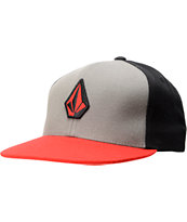 Volcom Stone Color Red, Charcoal, &  Black Snapback Hat