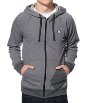Volcom Stone Grey & Black Zip Up Hoodie