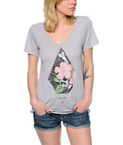 Volcom Taste Of Life Grey V-Neck Tee Shirt