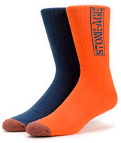 Volcom Tech Stone Age Navy & Orange Crew Socks