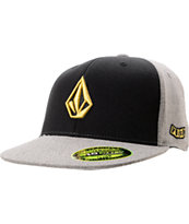 Volcom Too Stone Fabric Black & Grey FlexFit Hat