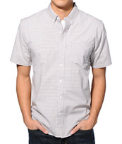 Volcom Weirdoh Mini Check White Short Sleeve Button Up Shirt