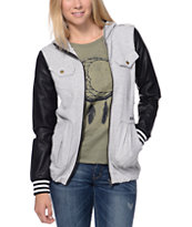 Volcom Women's Enemy Lines Heather Grey & Black Zip Up Hoodie