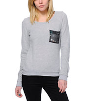 Volcom Women's Enter Galactic Grey Crew Neck Sweatshirt