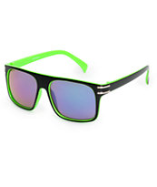 Watermark Black & Green Flat Top Sunglasses