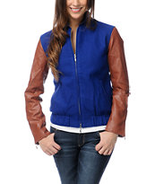 WeSC Girls Edif Blue & Tan Varsity Jacket