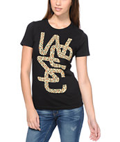 WeSC Girls Spotted Overlay Black Tee Shirt