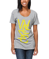 WeSC Women's Last Minute Overlay Heather Grey Tee Shirt