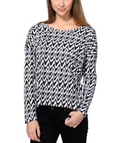 Wenanami Black & White Ikat Print Split Back Top