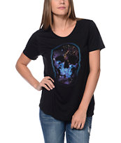 Wenanami Galaxy Skull Black Scoop Neck T-Shirt