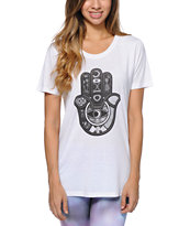 Wenanami Patterned Hamza White Tee Shirt