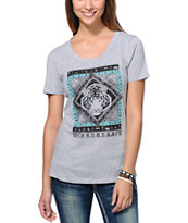 Wenanami Tribal Tiger Grey Scoop Neck Tee Shirt