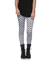Workshop Chevron Stripe Black & White Leggings