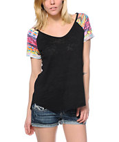Workshop Electric Tribal Print Sleeves Black T-Shirt