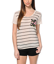 Workshop Floral Pocket Natural Stripe Scoop Neck T-Shirt