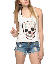 Workshop Floral Skull Chiffon & Mesh Back Tank Top