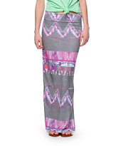 Workshop Grey & Pink Tribal Print Maxi Skirt