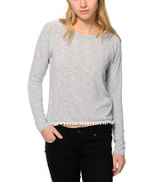 Workshop Grey Stripe Pom Trim Top