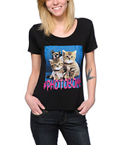 Workshop Kitty Photobomb Black Scoop Neck T-Shirt