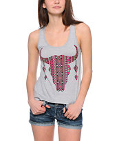 Workshop Longhorn Aztec Print Chiffon & Mesh Back Tank Top