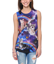Workshop Space Cats Cosmic Trip Purple Muscle Tee Shirt
