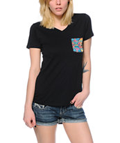 Workshop Texi Pocket Black V-Neck Tee Shirt