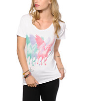 Workshop Tri Color Pegasus Scoop Neck T-Shirt