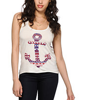 Workshop Tribal Anchor Chiffon & Mesh Back Tank Top