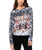 Workshop Tribal Grunge Tiger Sublimated Crew Neck Sweatshirt