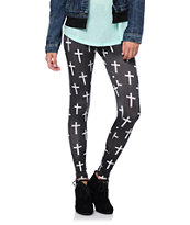 Workshop White Cross Print Black Leggings