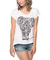 Workshop Ziggy Elephant Tribal Chiffon Back Dolman T-Shirt
