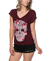 Workshop Ziggy Floral Skull Chiffon Back Dolman T-Shirt