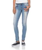 YMI Americana Destructed Light Wash Skinny Jeans