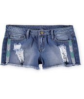 YMI Chevron Embroidery Denim Shorts