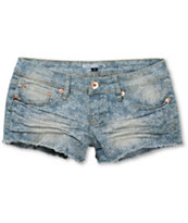 YMI Laser Lace Medium Wash Denim Cut-Off Shorts