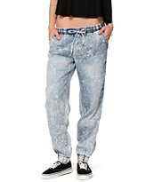 YMI Light Acid Wash Denim Jogger Pants