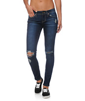 YMI WannaBettaButt Dark Wash Destroyed Skinny Jeans