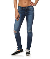 YMI WannaBettaButt Medium Wash Destroyed Skinny Jeans