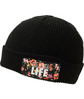 Yea.Nice Floral Black Fold Beanie