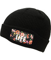 Yea.Nice Pattern Flower Black Fold Beanie