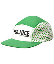 Yea.Nice Planted Green & White Weed Print 5 Panel Hat