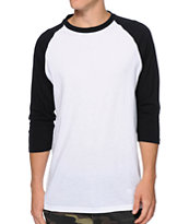Zine 2nd Inning White & Black Baseball Tee Shirt