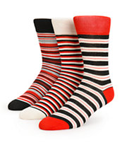 Zine 3 Pack Jester Red Stripe Crew Socks