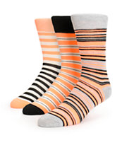 Zine 3 Pack Mandy Coral Stripe Crew Socks