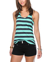 Zine Aqua Green & Charcoal Stripe Pocket Tank Top