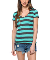 Zine Beta Aqua Green & Charcoal Stripe V-Neck Tee Shirt