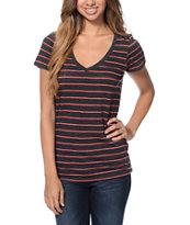 Zine Beta Charcoal & Red Stripe Slub V-Neck T-Shirt