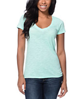 Zine Beta Ice Green Slub  V-Neck Tee Shirt