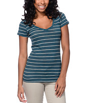 Zine Beta Lyons Blue Stripe Slub V-Neck Tee Shirt