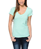 Zine Beta Neon Mint V-Neck Tee Shirt